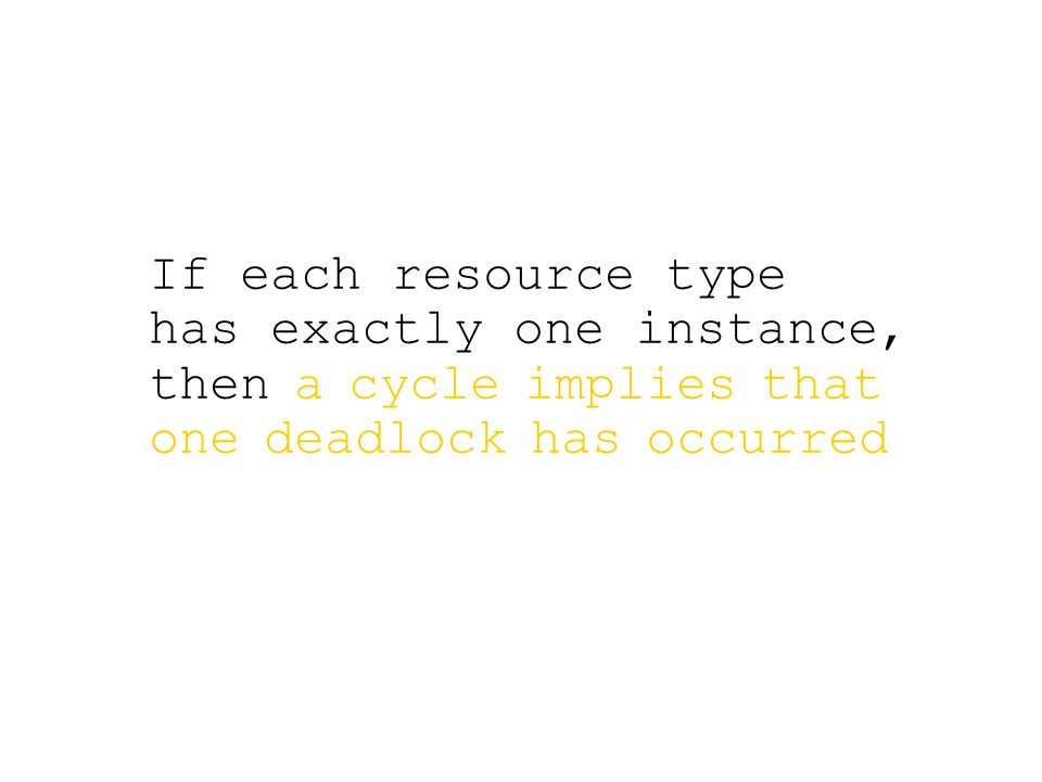 If each resource type has exactly one instance, then a cycle implies that one deadlock has occurred