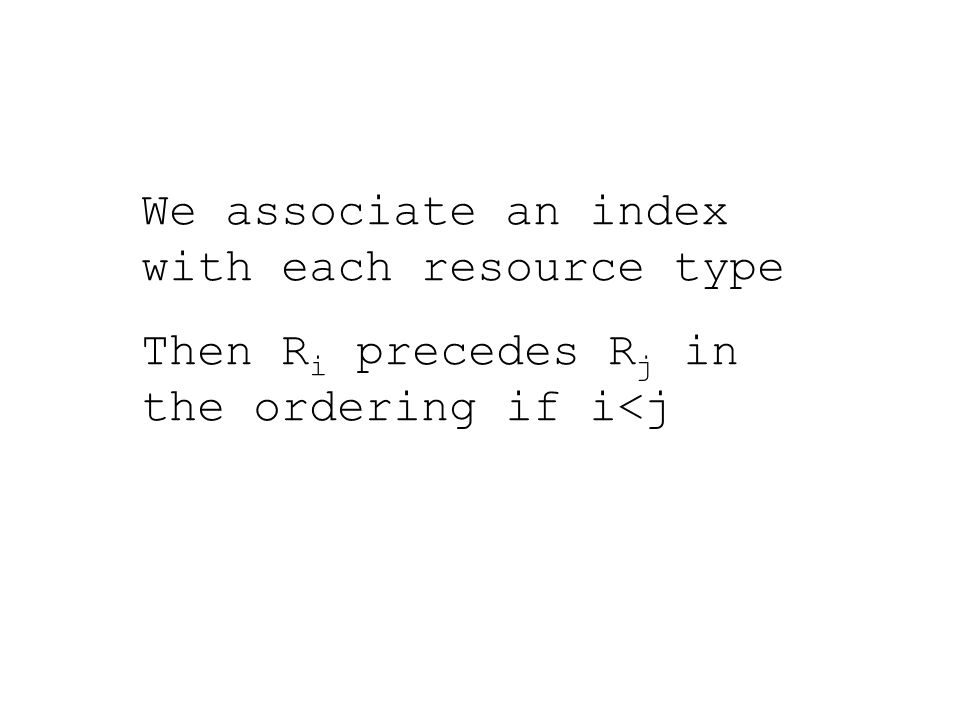 We associate an index with each resource type Then R i precedes R j in the ordering if i<j