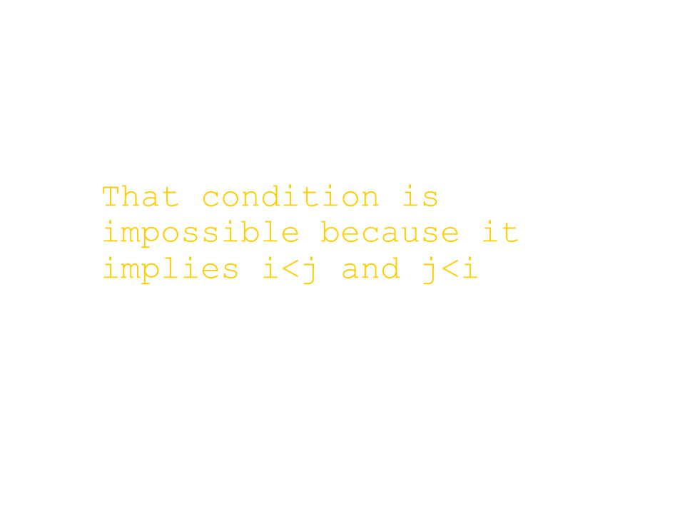 That condition is impossible because it implies i<j and j<i