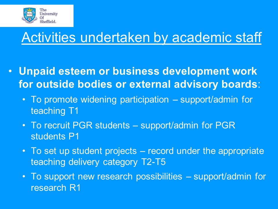 Activities undertaken by academic staff Unpaid esteem or business development work for outside bodies or external advisory boards: To promote widening participation – support/admin for teaching T1 To recruit PGR students – support/admin for PGR students P1 To set up student projects – record under the appropriate teaching delivery category T2-T5 To support new research possibilities – support/admin for research R1