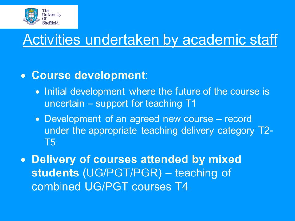Activities undertaken by academic staff  Course development:  Initial development where the future of the course is uncertain – support for teaching T1  Development of an agreed new course – record under the appropriate teaching delivery category T2- T5  Delivery of courses attended by mixed students (UG/PGT/PGR) – teaching of combined UG/PGT courses T4