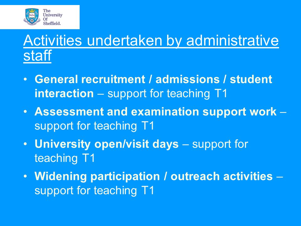 Activities undertaken by administrative staff General recruitment / admissions / student interaction – support for teaching T1 Assessment and examination support work – support for teaching T1 University open/visit days – support for teaching T1 Widening participation / outreach activities – support for teaching T1