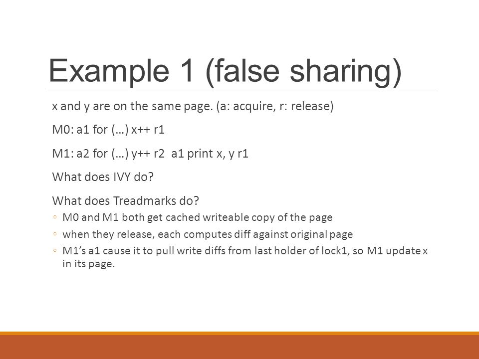 Example 1 (false sharing) x and y are on the same page.