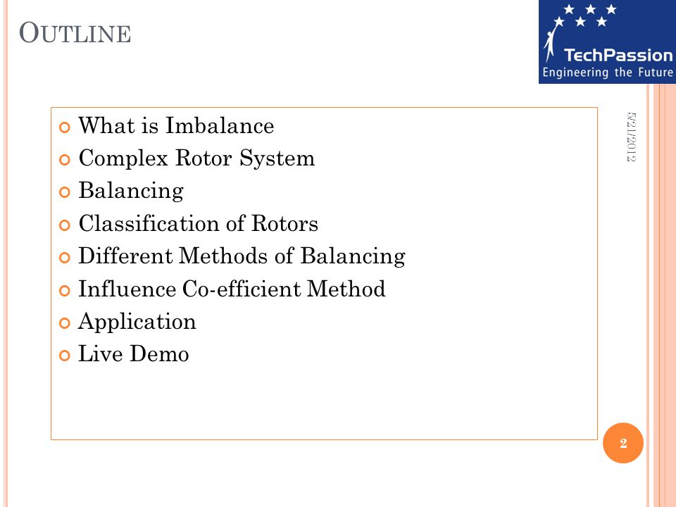 O UTLINE What is Imbalance Complex Rotor System Balancing Classification of Rotors Different Methods of Balancing Influence Co-efficient Method Applic