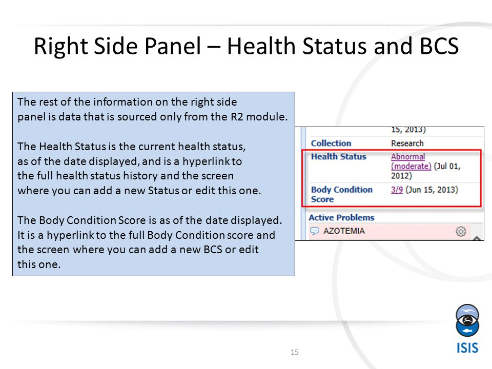 Right Side Panel – Health Status and BCS The rest of the information on the right side panel is data that is sourced only from the R2 module.