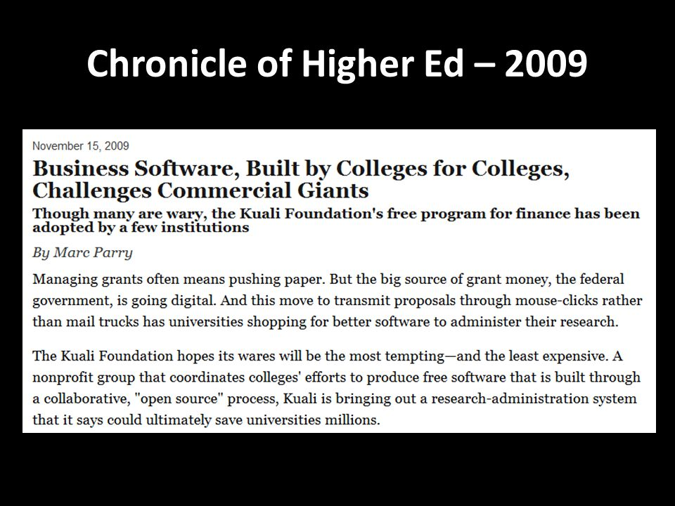 Chronicle of Higher Ed – 2009