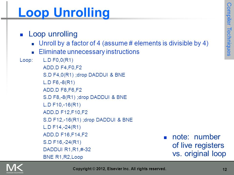 12 Copyright © 2012, Elsevier Inc. All rights reserved. Loop Unrolling Loop unrolling Unroll by a factor of 4 (assume # elements is divisible by 4) El