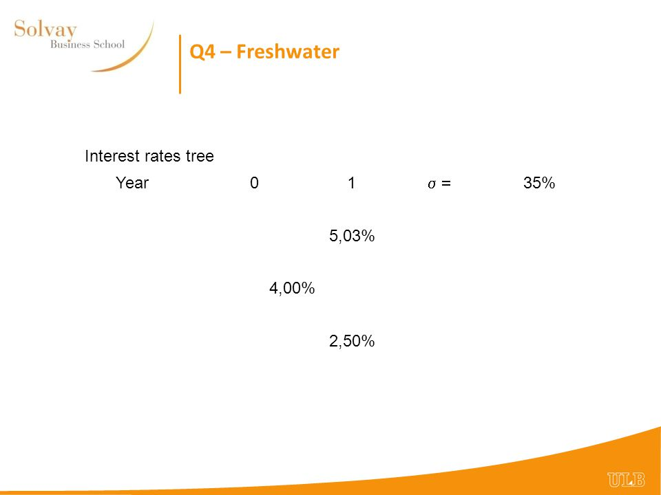 Q4 – Freshwater Interest rates tree Year01  35% 5,03% 4,00% 2,50%