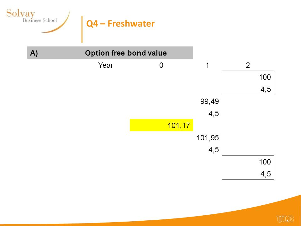 Q4 – Freshwater A)Option free bond value Year012 100 4,5 99,49 4,5 101,17 101,95 4,5 100 4,5