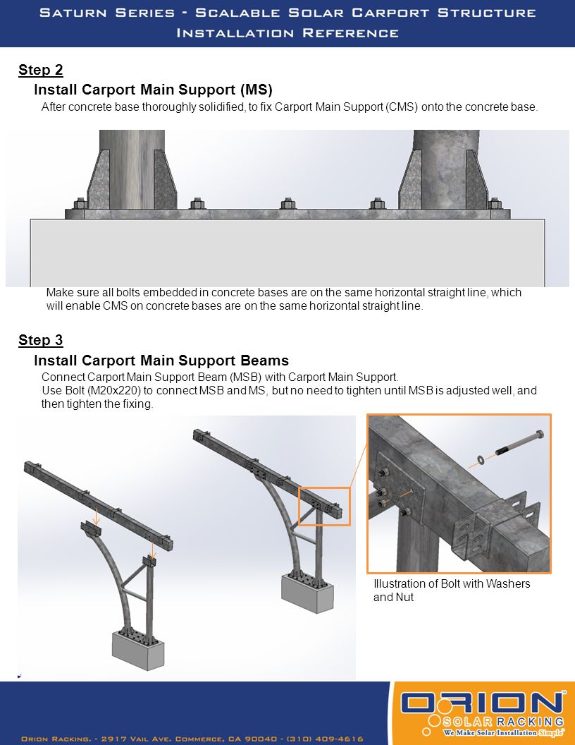 Step 4 Connect Crossbeam with Carport Main Support Beam (MSB).