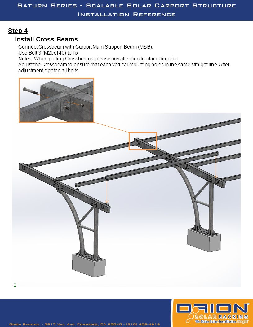 Step 5 Before fixing 6 Rail Beams with 4 Crossbeams, make Pre-mounted solar module units (Solar modules to mount with Rail Beams) first.
