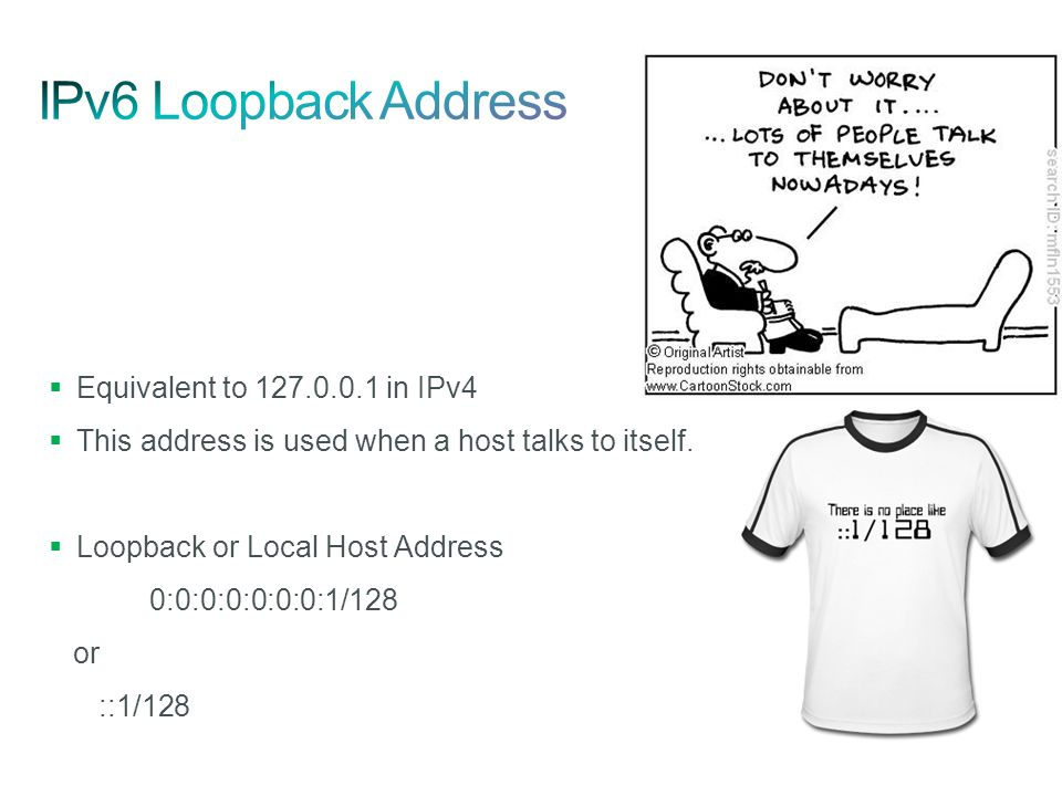  Equivalent to 127.0.0.1 in IPv4  This address is used when a host talks to itself.  Loopback or Local Host Address 0:0:0:0:0:0:0:1/128 or ::1/128