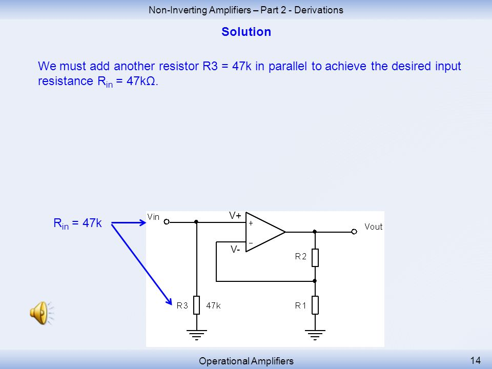 Non-Inverting Amplifiers – Part 2 - Derivations Operational Amplifiers 13 The input resistance R in of a non-inverting amplifier is infinite.