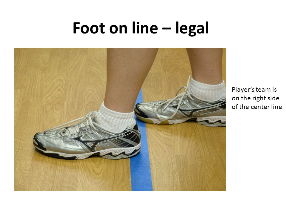Foot on line – legal Player's team is on the right side of the center line