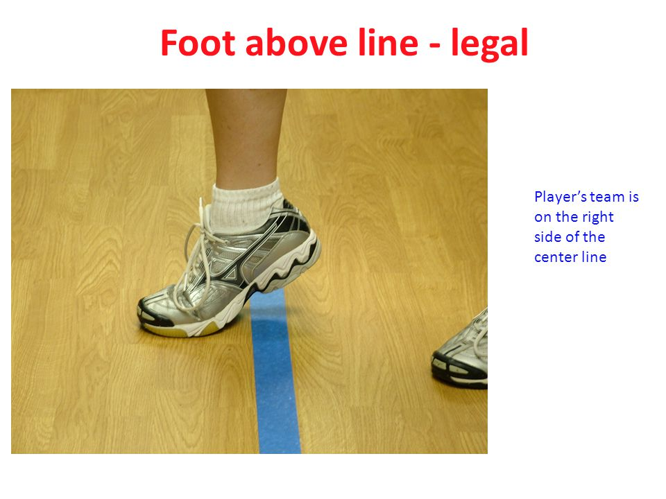 Foot above line - legal Player's team is on the right side of the center line