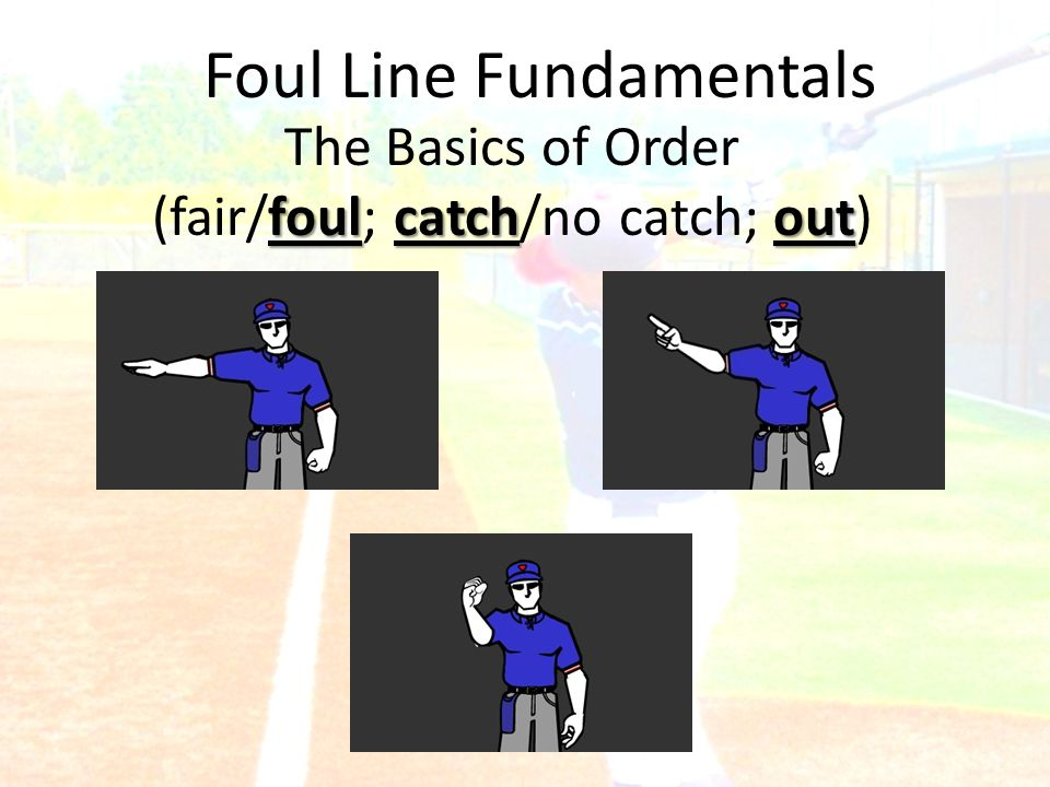 Foul Line Fundamentals The Basics of Order foulcatchout (fair/foul; catch/no catch; out)