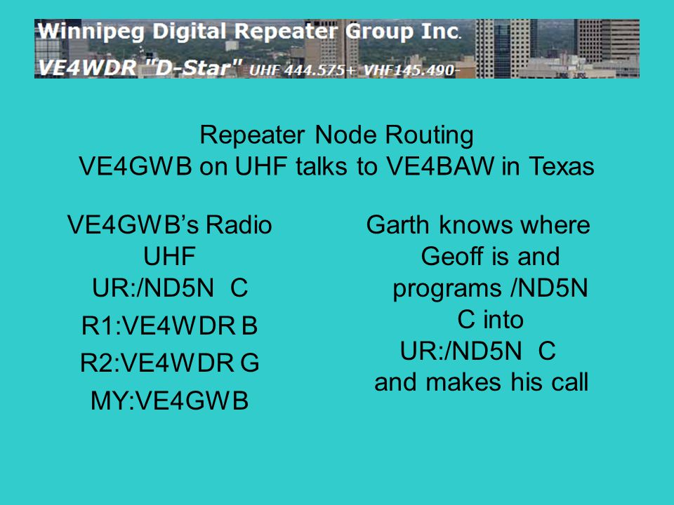 VE4GWB's Radio UHF UR:/ND5N C R1:VE4WDR B R2:VE4WDR G MY:VE4GWB Repeater Node Routing VE4GWB on UHF talks to VE4BAW in Texas Garth knows where Geoff i