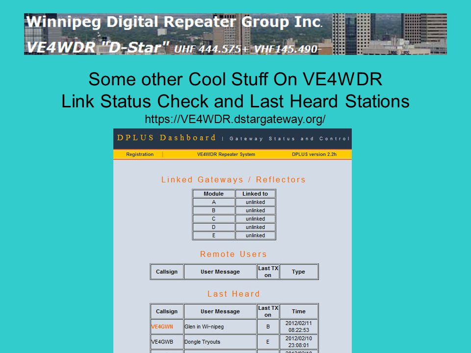 Some other Cool Stuff On VE4WDR Link Status Check and Last Heard Stations https://VE4WDR.dstargateway.org/