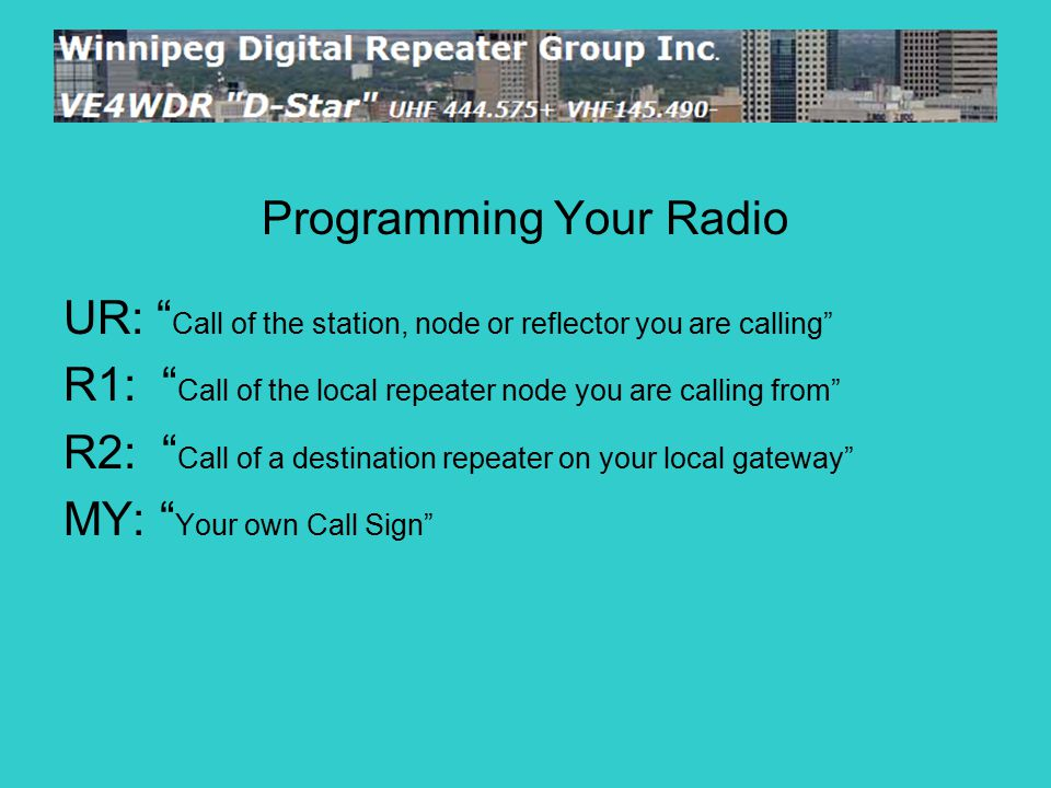 "Programming Your Radio UR: "" Call of the station, node or reflector you are calling"" R1: "" Call of the local repeater node you are calling from"" R2: """