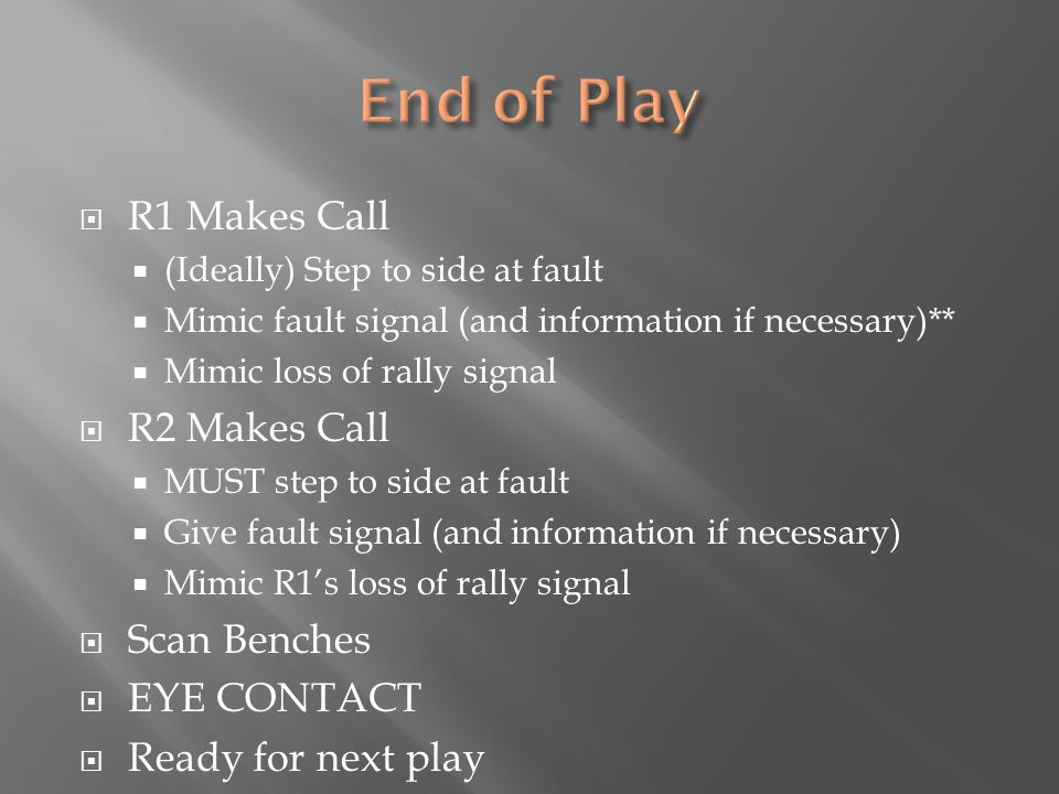  R1 Makes Call  (Ideally) Step to side at fault  Mimic fault signal (and information if necessary)**  Mimic loss of rally signal  R2 Makes Call 