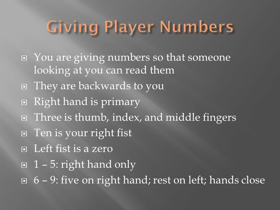  You are giving numbers so that someone looking at you can read them  They are backwards to you  Right hand is primary  Three is thumb, index, and