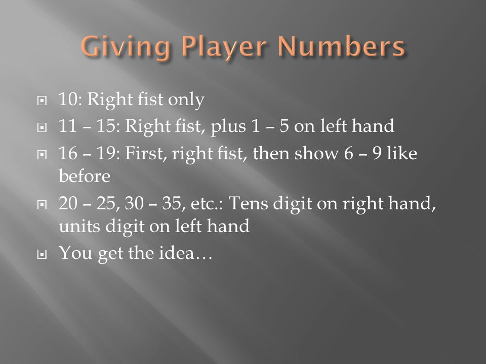  10: Right fist only  11 – 15: Right fist, plus 1 – 5 on left hand  16 – 19: First, right fist, then show 6 – 9 like before  20 – 25, 30 – 35, etc