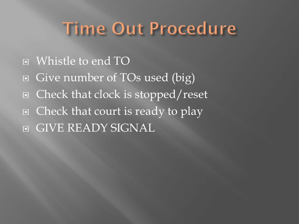  Whistle to end TO  Give number of TOs used (big)  Check that clock is stopped/reset  Check that court is ready to play  GIVE READY SIGNAL