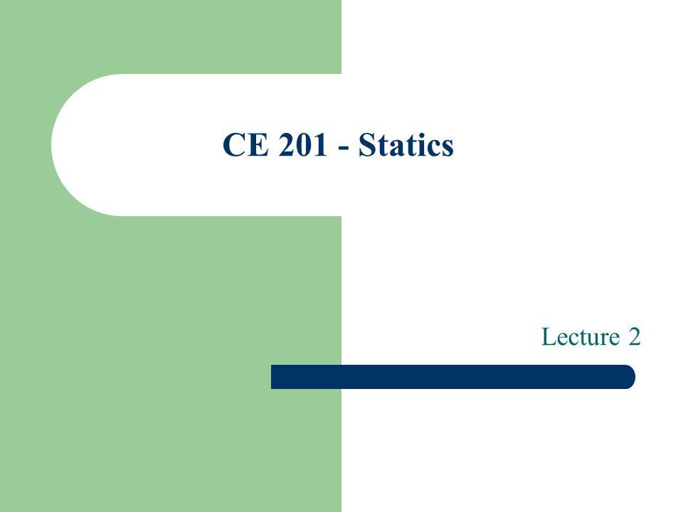 CE 201 - Statics Lecture 2
