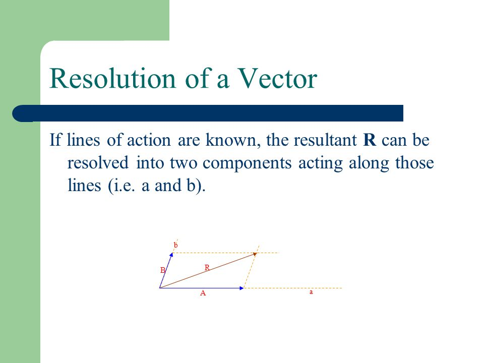 Resolution of a Vector If lines of action are known, the resultant R can be resolved into two components acting along those lines (i.e.