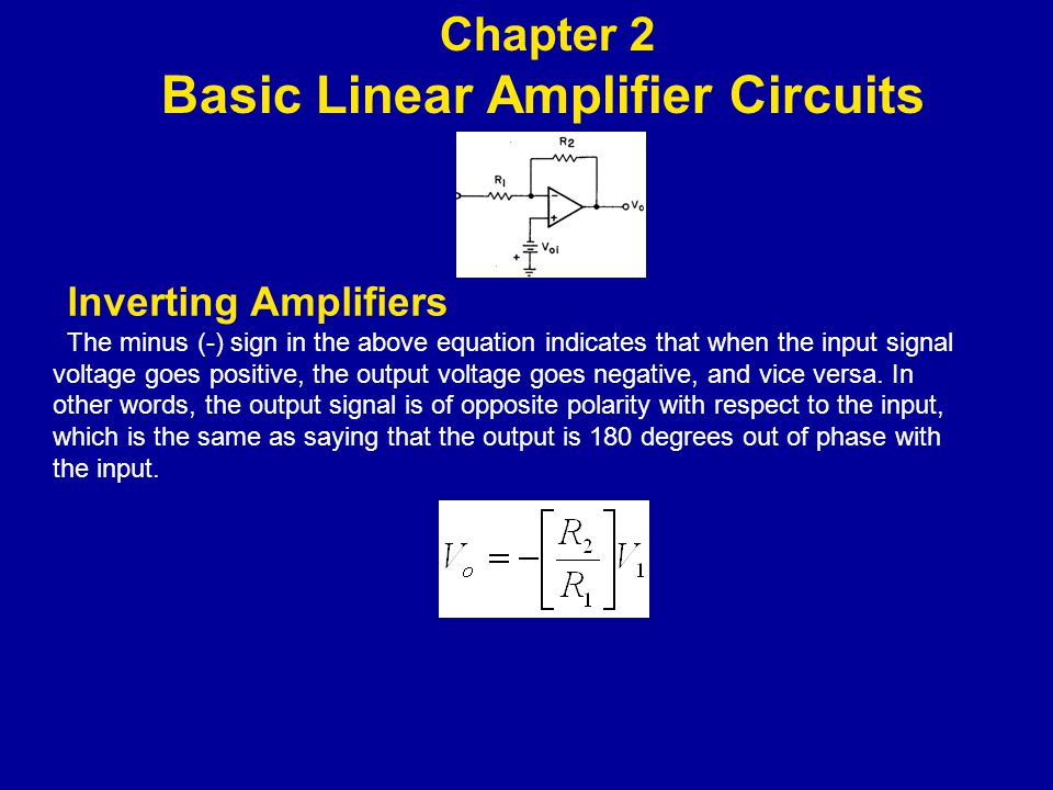 lnverting Amplifiers The minus (-) sign in the above equation indicates that when the input signal voltage goes positive, the output voltage goes negative, and vice versa.
