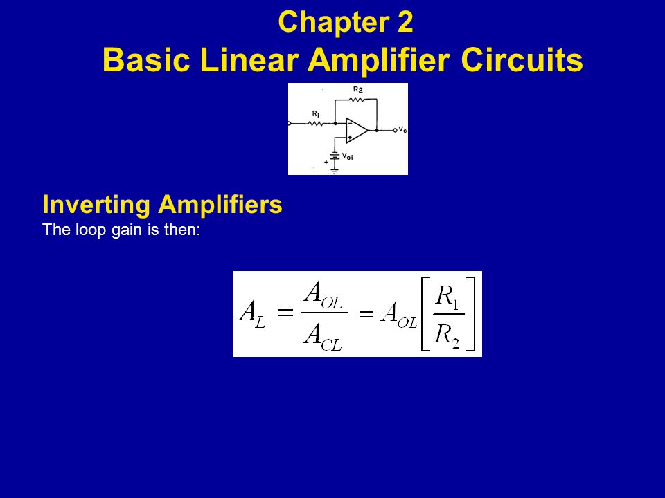 lnverting Amplifiers The loop gain is then: Chapter 2 Basic Linear Amplifier Circuits