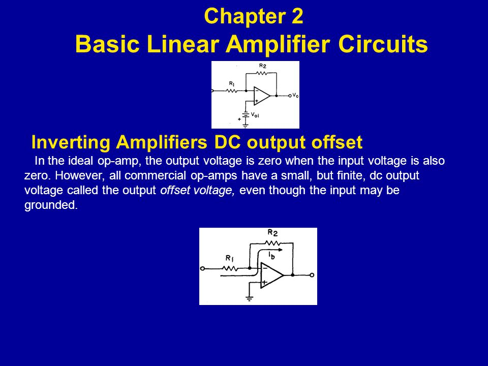 lnverting Amplifiers DC output offset In the ideal op-amp, the output voltage is zero when the input voltage is also zero.