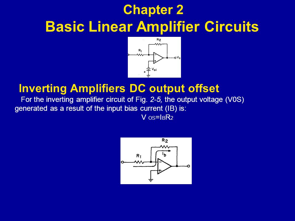 lnverting Amplifiers DC output offset For the inverting amplifier circuit of Fig.