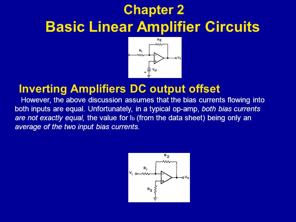 lnverting Amplifiers DC output offset However, the above discussion assumes that the bias currents flowing into both inputs are equal.