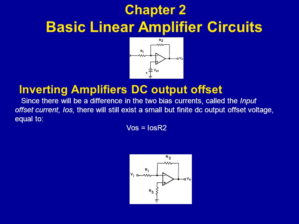 lnverting Amplifiers DC output offset Since there will be a difference in the two bias currents, called the Input offset current, Ios, there will still exist a small but finite dc out­put offset voltage, equal to: Vos = IosR2 Chapter 2 Basic Linear Amplifier Circuits