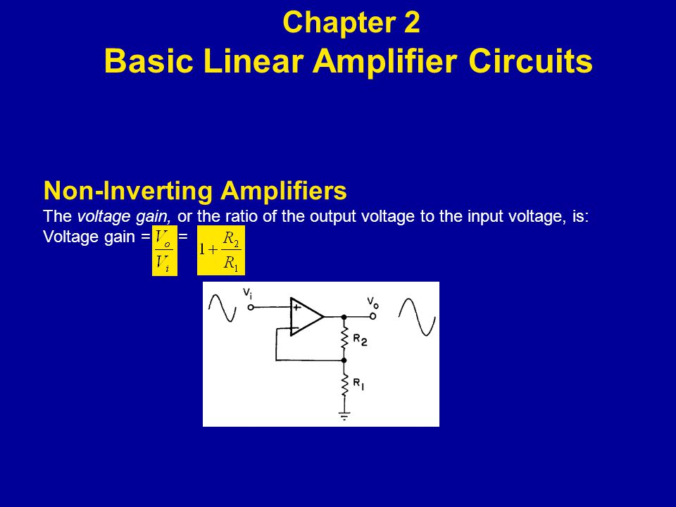 Chapter 2 Basic Linear Amplifier Circuits Non-lnverting Amplifiers Usually, the calculation of the op-amp circuit's output impedance can be ignored since it is such a small number.
