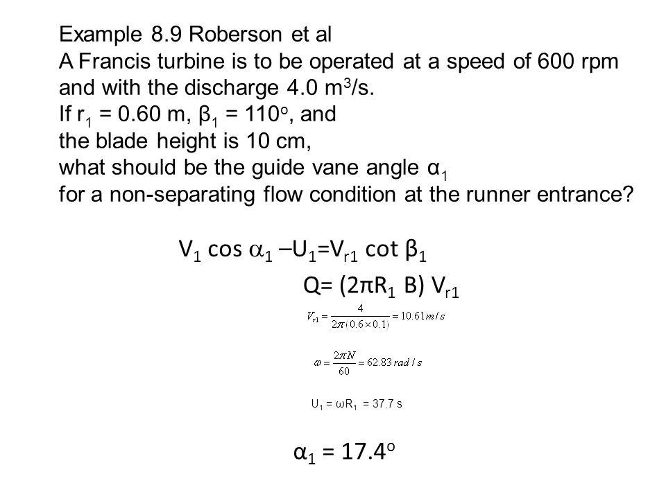Find Torque T ≈ ρQV 1 r 1 cos  1 T = 81.2 kN-m Find Power P=Tω P = 5100 kw (Assume no loss .