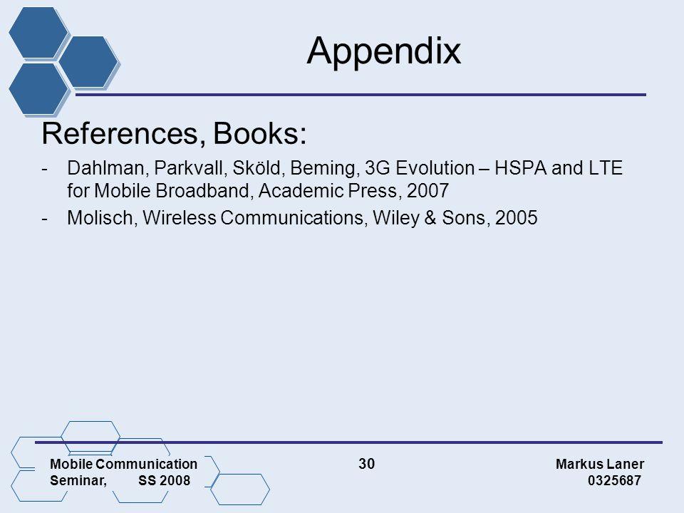 Mobile Communication 30 Markus Laner Seminar, SS 2008 0325687 Appendix References, Books: -Dahlman, Parkvall, Sköld, Beming, 3G Evolution – HSPA and LTE for Mobile Broadband, Academic Press, 2007 -Molisch, Wireless Communications, Wiley & Sons, 2005