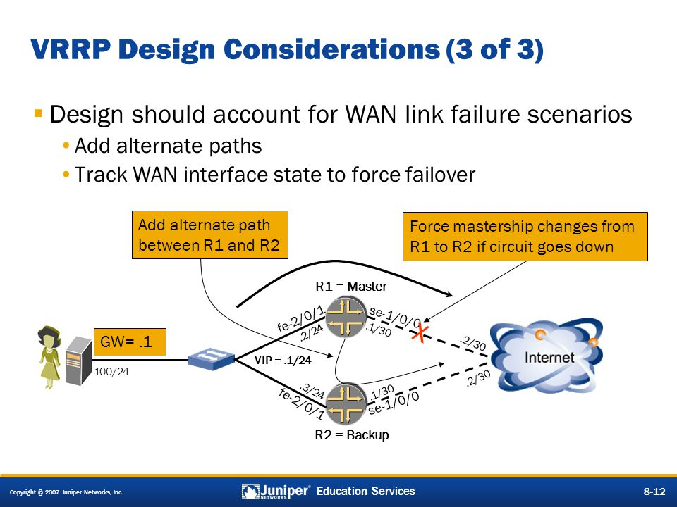 Copyright © 2007 Juniper Networks, Inc. 8-12 Education Services 8-12 VRRP Design Considerations (3 of 3)  Design should account for WAN link failure