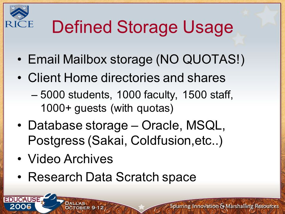 Defined Storage Usage Email Mailbox storage (NO QUOTAS!) Client Home directories and shares –5000 students, 1000 faculty, 1500 staff, 1000+ guests (with quotas) Database storage – Oracle, MSQL, Postgress (Sakai, Coldfusion,etc..) Video Archives Research Data Scratch space