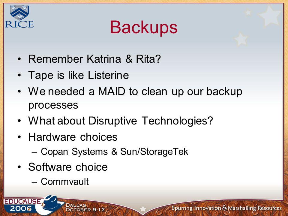 Backups Remember Katrina & Rita.