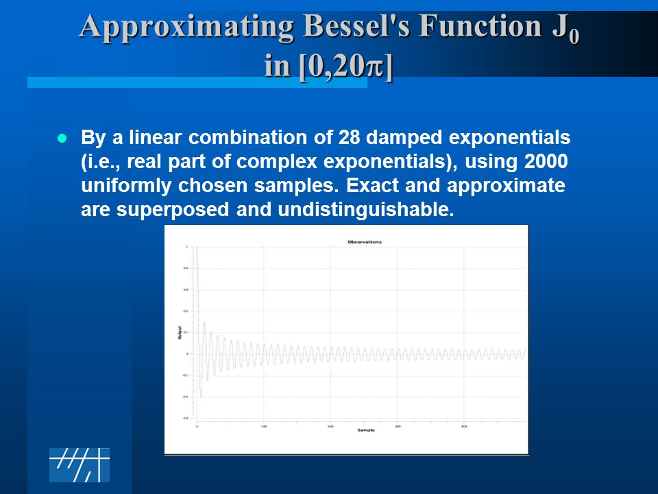 Approximating Bessel s Function J 0 in [0,20  ] By a linear combination of 28 damped exponentials (i.e., real part of complex exponentials), using 2000 uniformly chosen samples.