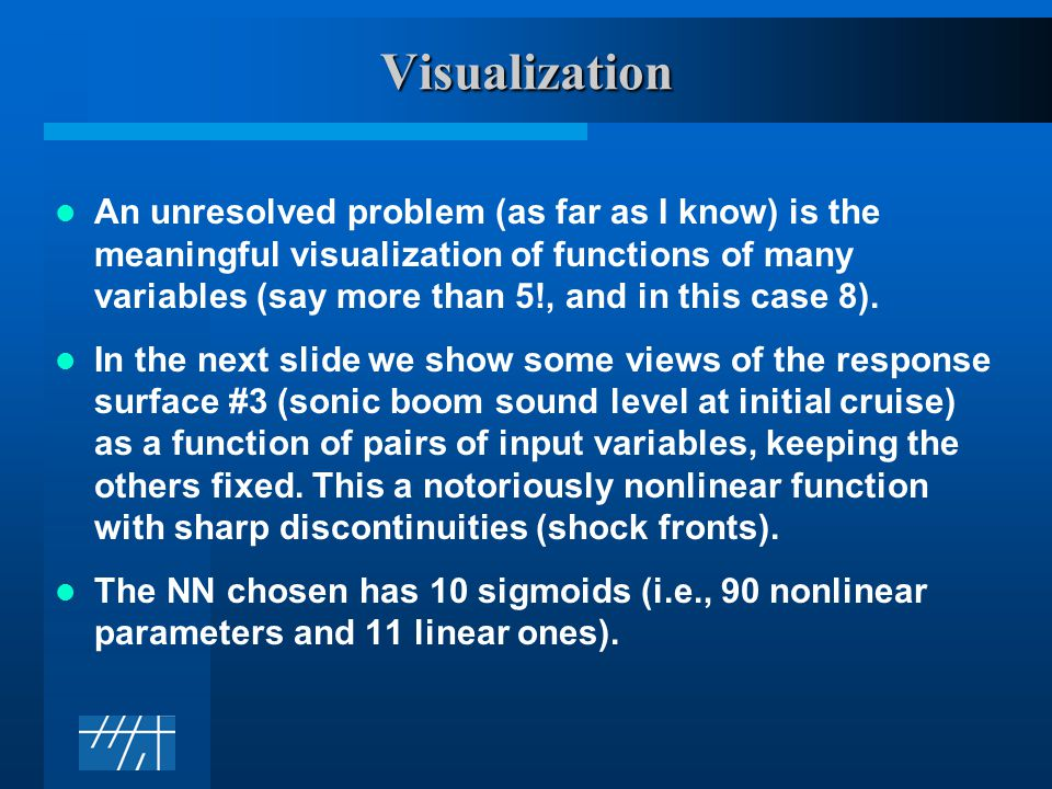 Visualization An unresolved problem (as far as I know) is the meaningful visualization of functions of many variables (say more than 5!, and in this case 8).