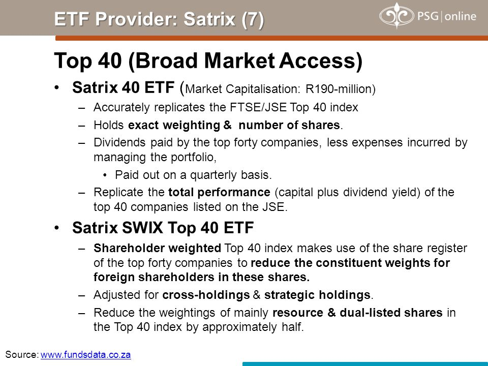 Top 40 (Broad Market Access) Satrix 40 ETF ( Market Capitalisation: R190-million) –Accurately replicates the FTSE/JSE Top 40 index –Holds exact weighting & number of shares.