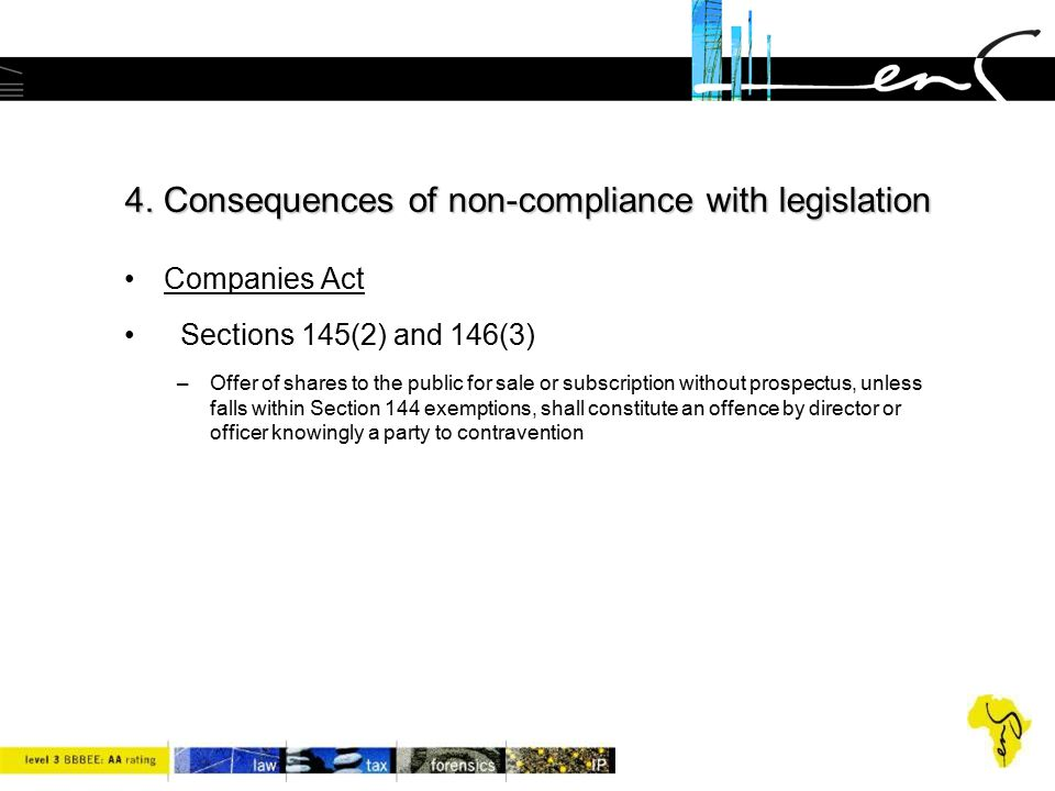 4. Consequences of non-compliance with legislation Companies Act Sections 145(2) and 146(3) –Offer of shares to the public for sale or subscription wi