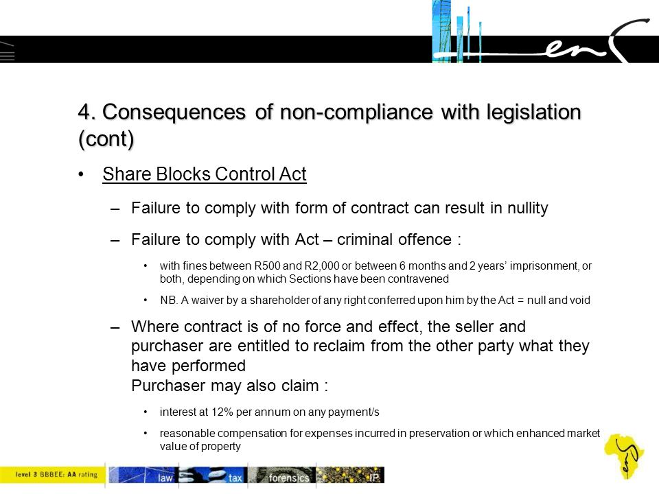 4. Consequences of non-compliance with legislation (cont) Share Blocks Control Act –Failure to comply with form of contract can result in nullity –Fai