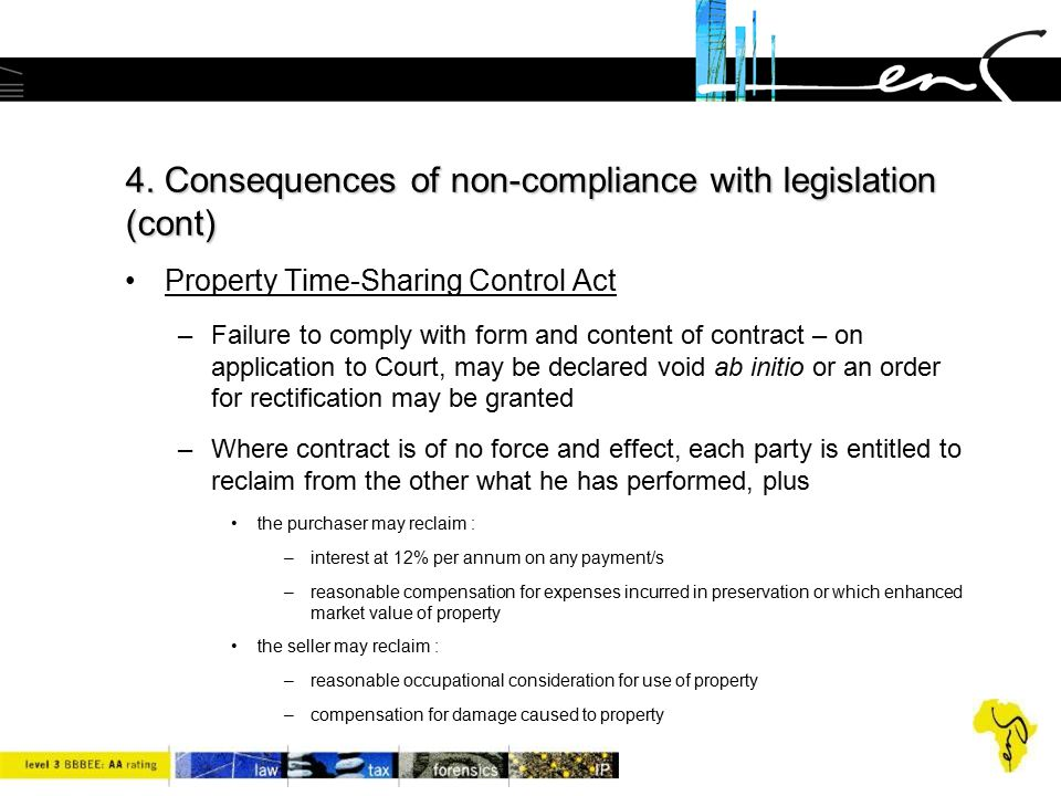 4. Consequences of non-compliance with legislation (cont) Property Time-Sharing Control Act –Failure to comply with form and content of contract – on