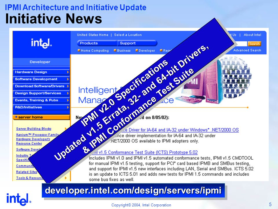 56 Copyright© 2004, Intel Corporation New Capabilities Under Consideration  Additional redirection payloads: – e.g.