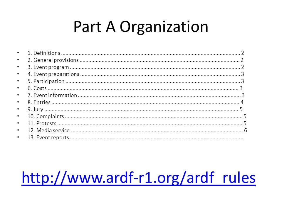 Part A Organization 1. Definitions....................................................................................................................