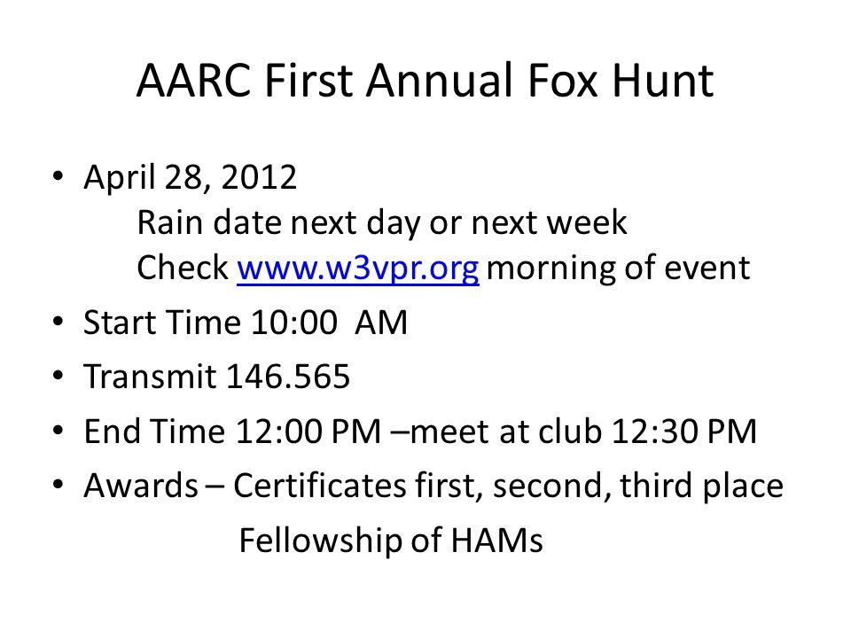 AARC First Annual Fox Hunt April 28, 2012 Rain date next day or next week Check www.w3vpr.org morning of eventwww.w3vpr.org Start Time 10:00 AM Transm